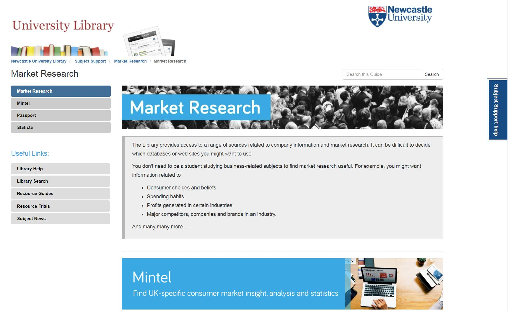 Market research resource guide homepage