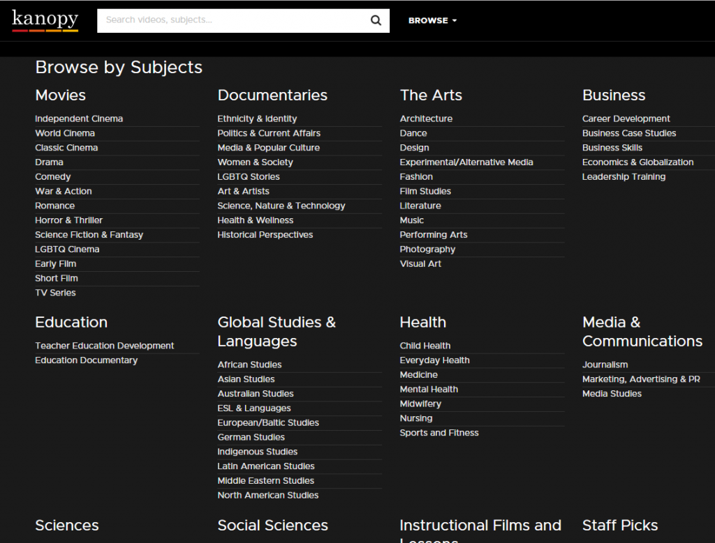New resource now available: Kanopy film streaming – Library