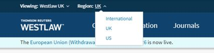 A screenshot of changing Region in Westlaw UK