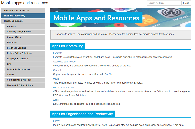 Screenshot of the Mobile Apps Guide page