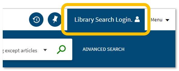 An image of the Library Search login function.