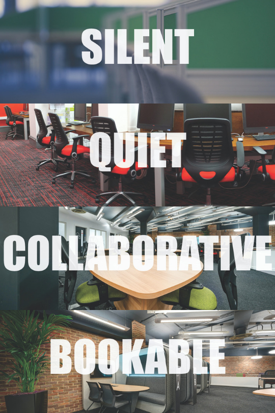 Image of silent, quiet, collaborative and bookable study spaces