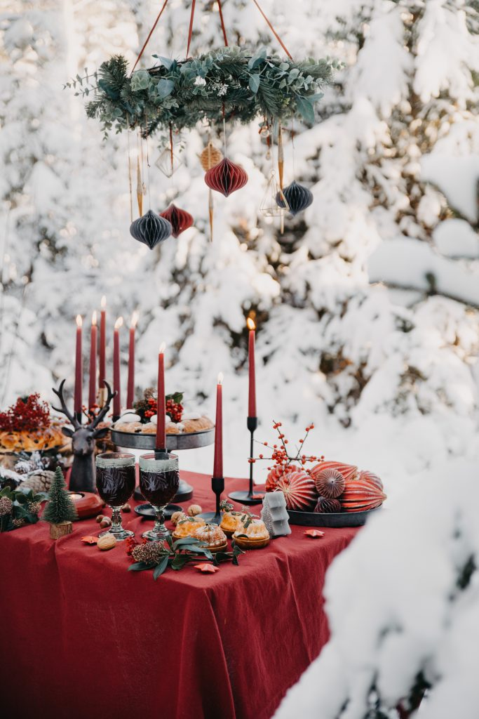 Christmas scene with dining table
