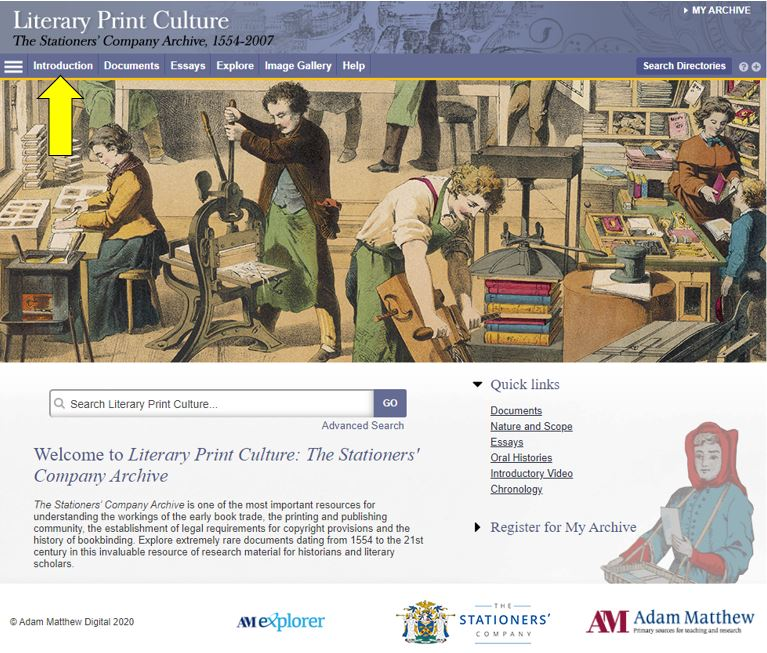 An image of the Literary Print Culture resource homepage.