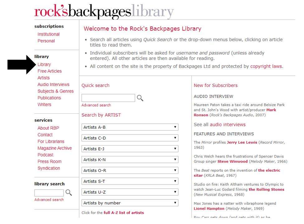 An image of the Rock's Backpages Library search screen.