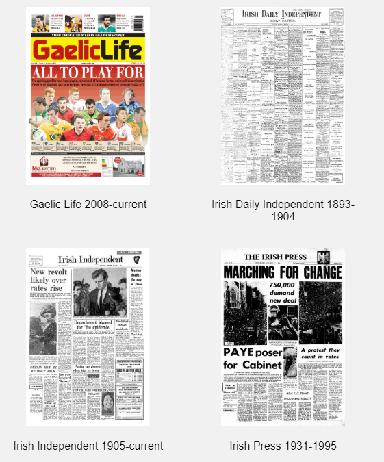 Title pages of Irish newspapers