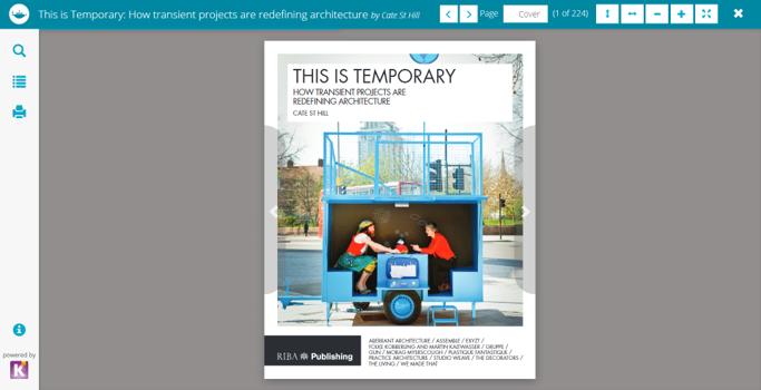 Screen shot showing RIBA ebook platform for reading online.