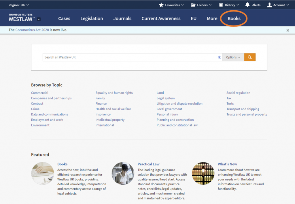An image of the Westlaw home screen with the Books option highlighted.