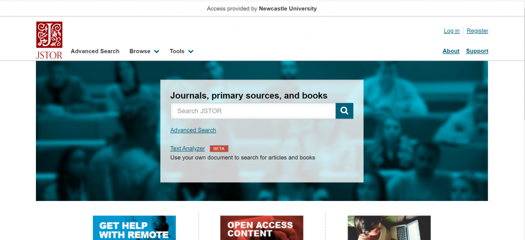 Screenshot showing the JSTOR homepage with basic search