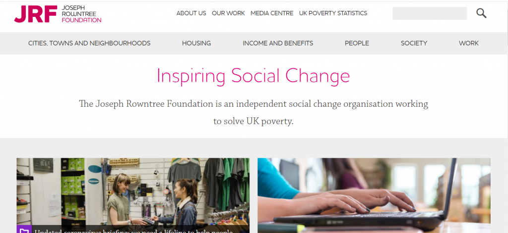 Joseph Rowntree Foundation homepage with browse and search.