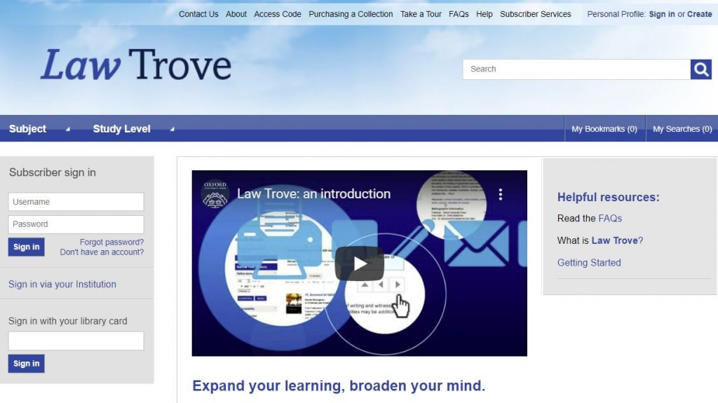 An image of the OUP Law Trove sign-in page.