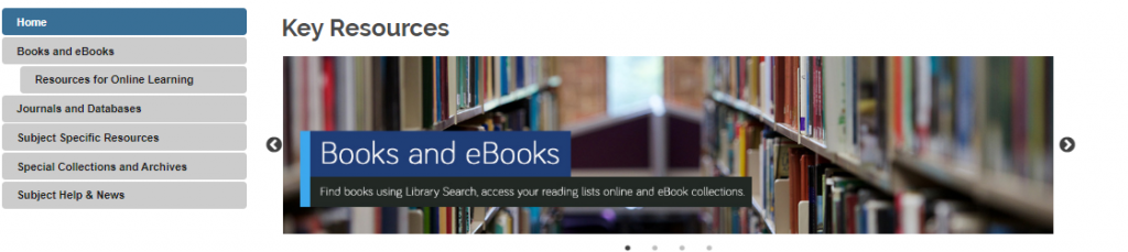 Image of the navigation menu displayed in subject guides. It contains a home page, books and e-books, resources for online learning, journals and databases, subject specific resources, special collections and archives, subject help and news.