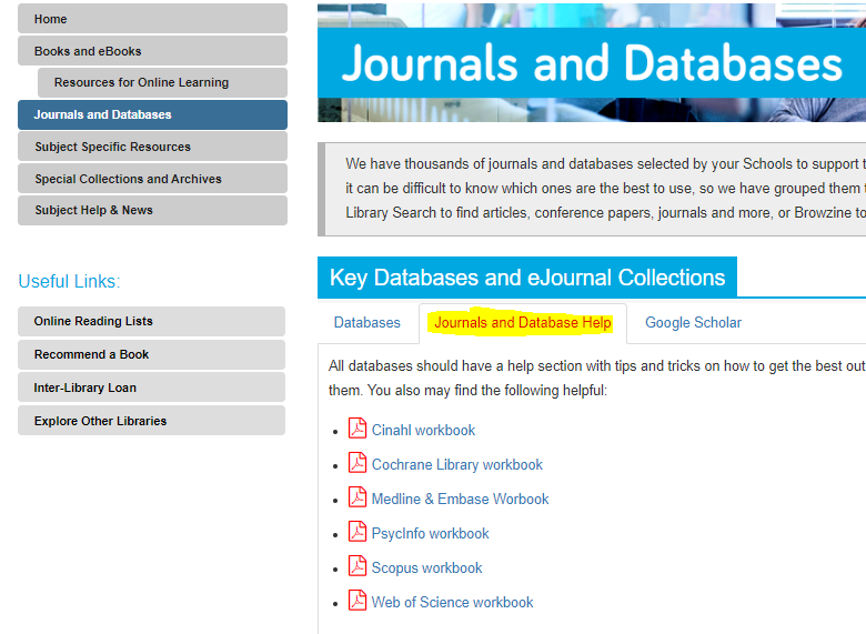 Image displaying the contents of the middle tab in the Journals and Databases section. It contains a list of PDF workbooks with instructions to databases.
