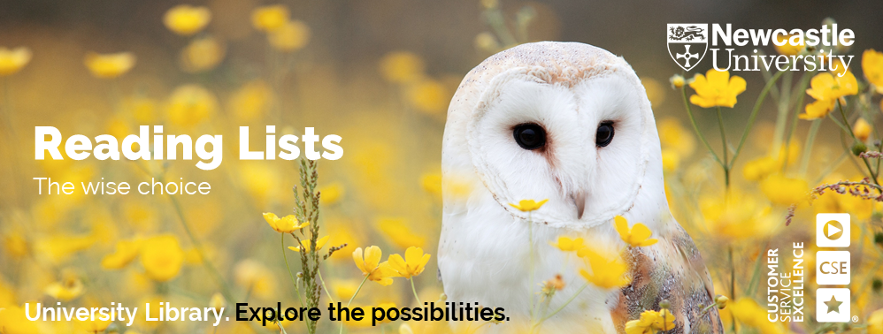 An image of a barn owl sitting in a meadow advertising the wise choice of using the Library's Reading Lists service.
