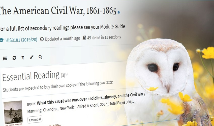 An image of a wise barn owl over Leganto, the Reading Lists service.