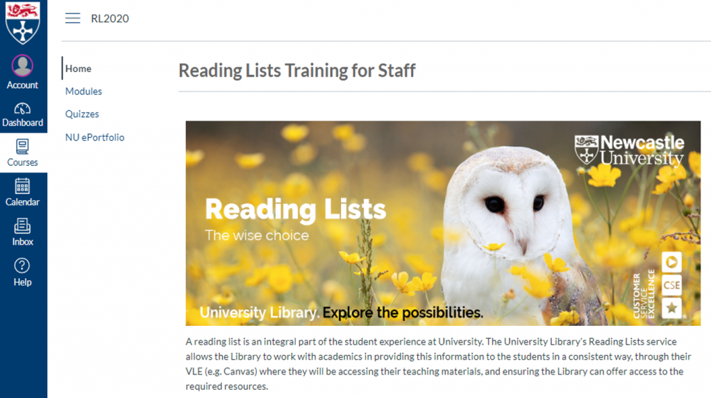 An image of the Reading Lists Training for Staff Canvas course home page.