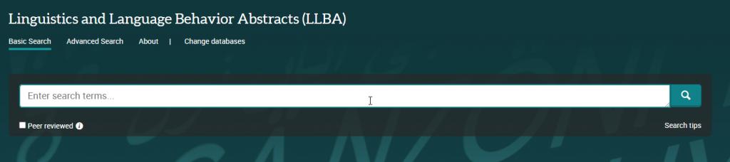 Screen shot of the LLBA search box.