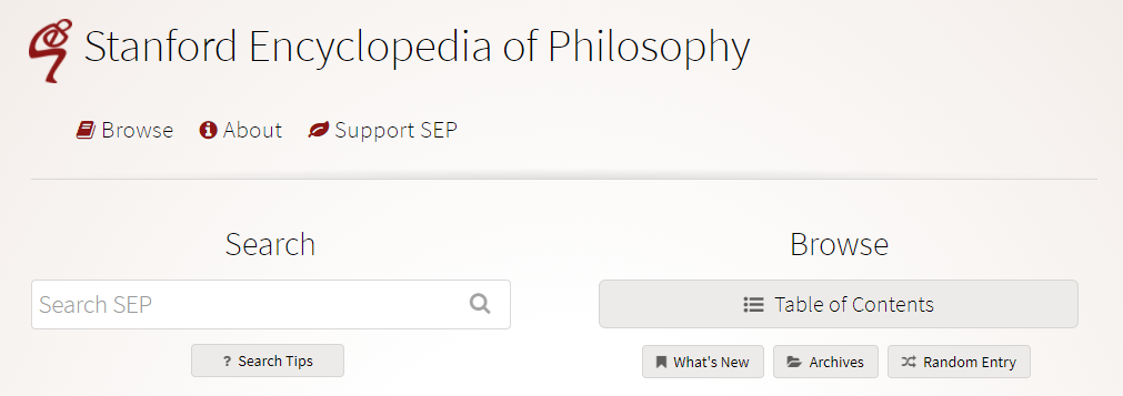 Screen shot of the Stanford Encyclopedia of Philosophy home page.