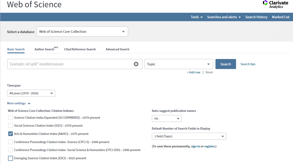 Screen shot showing how to select the Arts and Humanities Citation Index from the Web of Science search page.