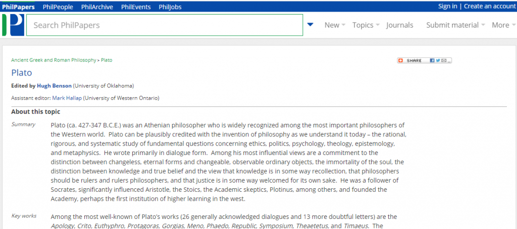 Screen shot of an example topic page on PhilPapers.