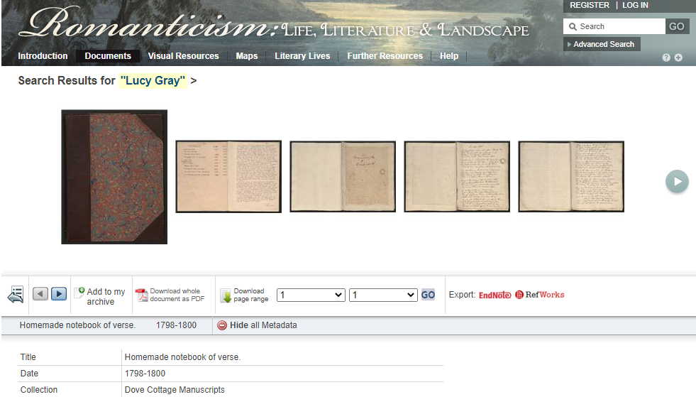 Screen shot of an item record from Romanticism: Life, Literature and Landscape.
