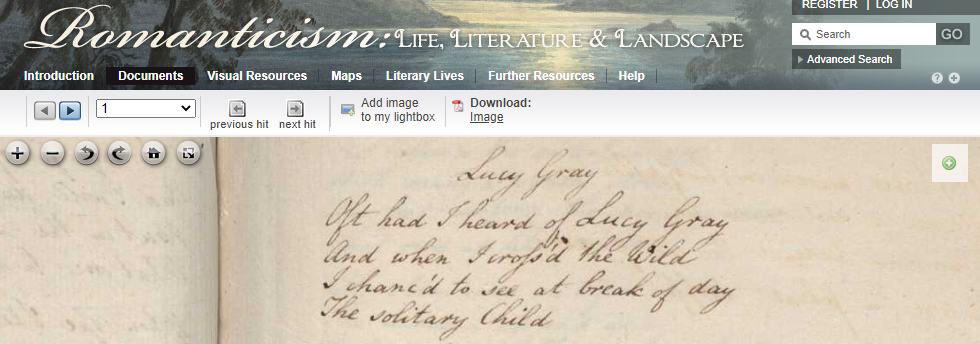 Screen shot of a verse manuscript from Romanticism: Life, Literature and Landscape.