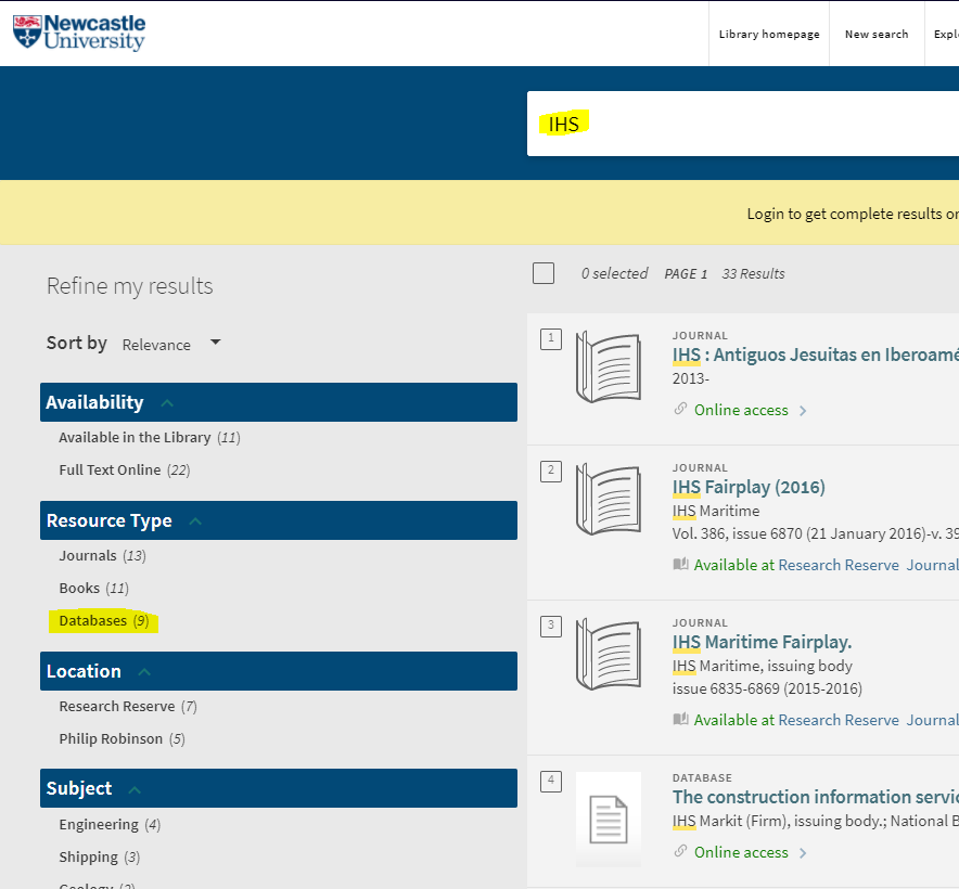 Screenshot of Library Help, showing how search for IHS databases.