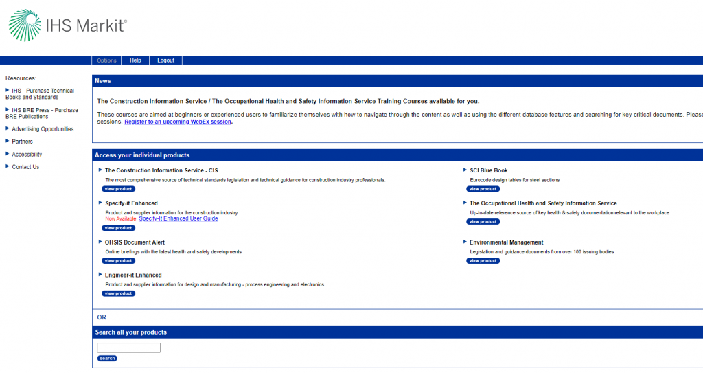 Screenshot of IHS databases.