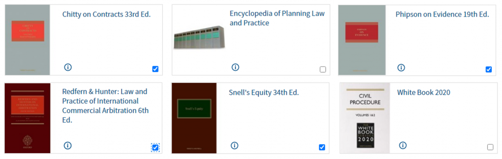An image of a selection of Westlaw Books from the Common Law Library  and practitioner titles.