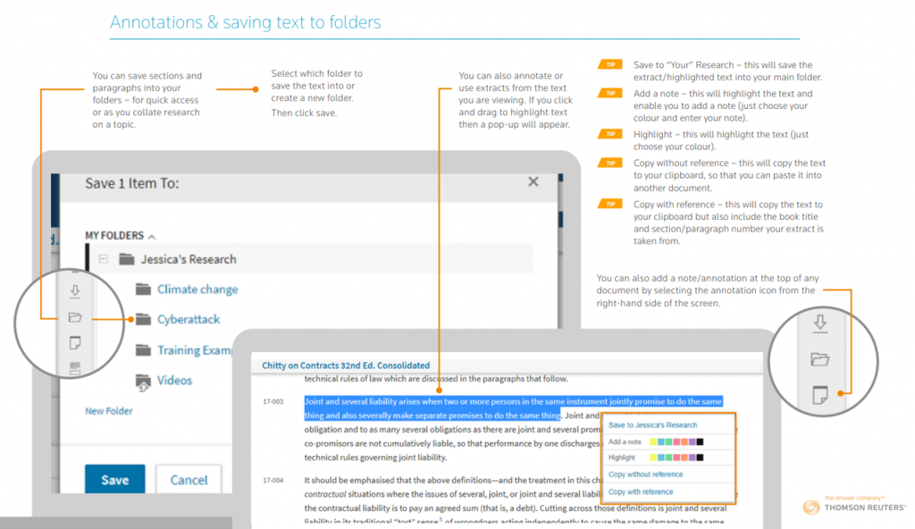 An extract from the Thomson Reuters Westlaw Books PDF guide showing how to annotate text.