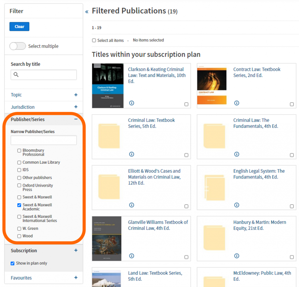 An image of a filtered result in Westlaw Books.