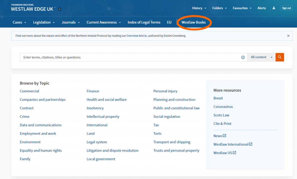 An image of the Westlaw home screen with Westlaw Books highlighted in the top menu.