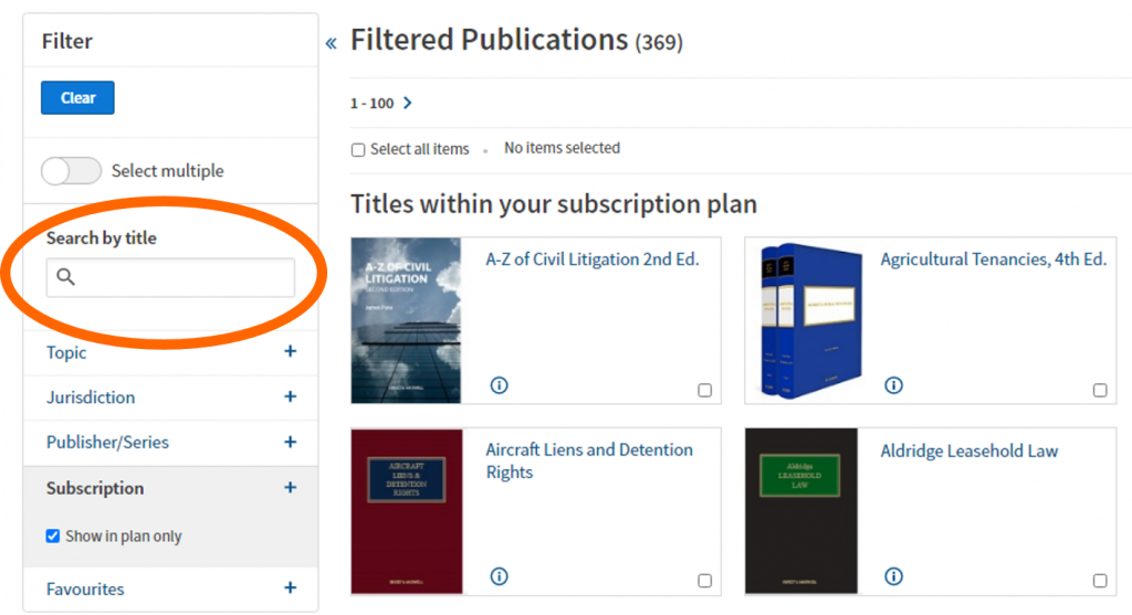 An image of the Westlaw Books search options, with 'Search by Title' highlighted.