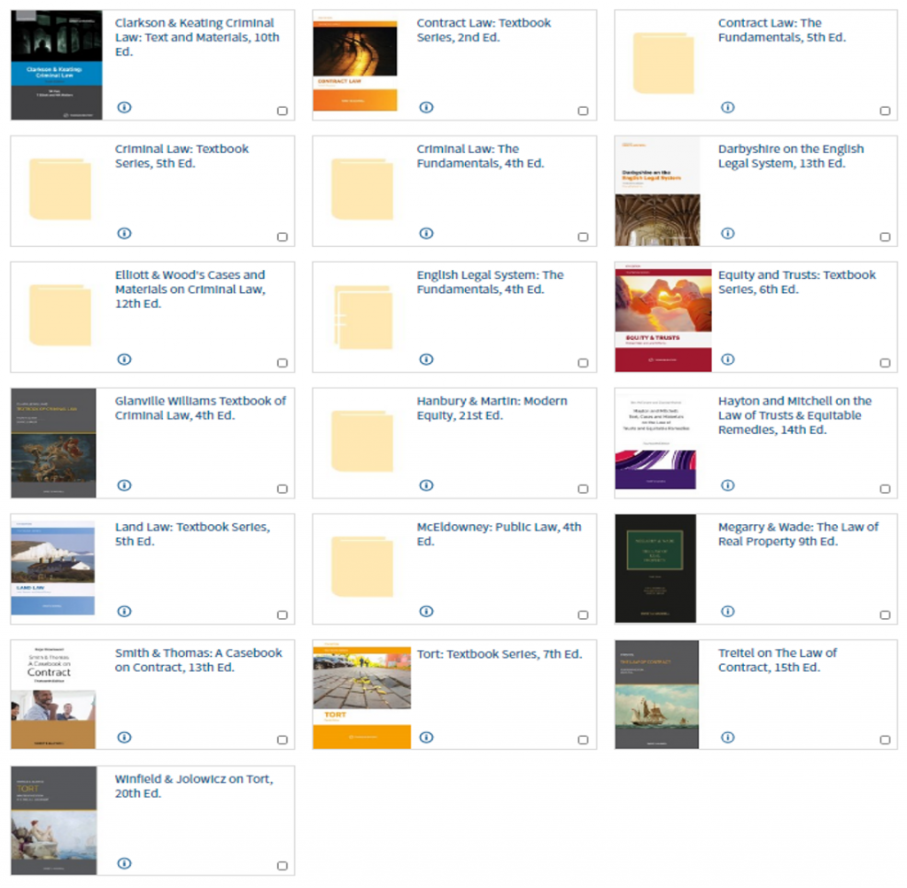 An image of a selection of Westlaw Books available from the S&M Academic Collection.