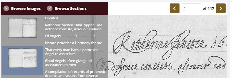 Screenshot of a Perdita Manuscript scanned document