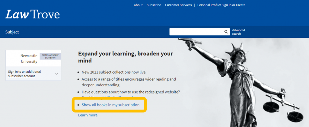 An image of the OUP Law Trove home page, with the option of displaying all books included in Newcastle University's subscription highlighted.