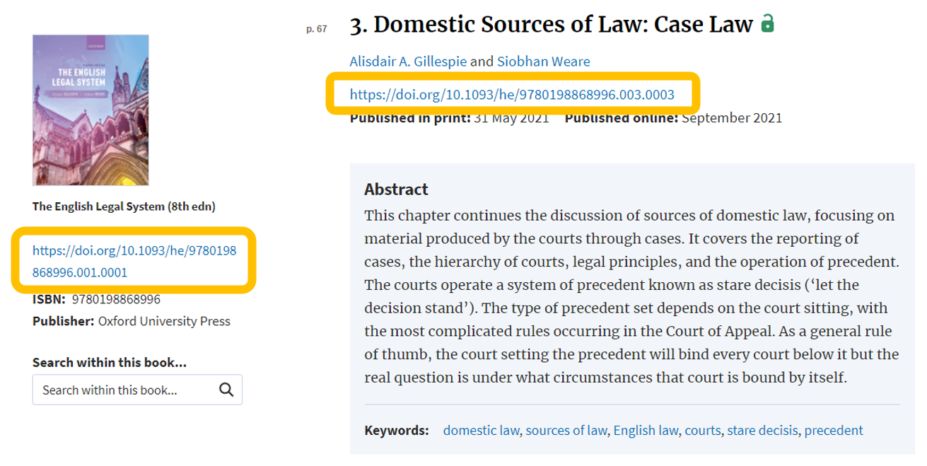 An image of OUP Law Trove which indicates the availability of DOI: links for both books and chapters.