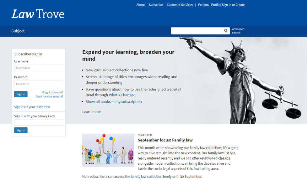 An image of the OUP Law Trove homepage: https://www.oxfordlawtrove.com/