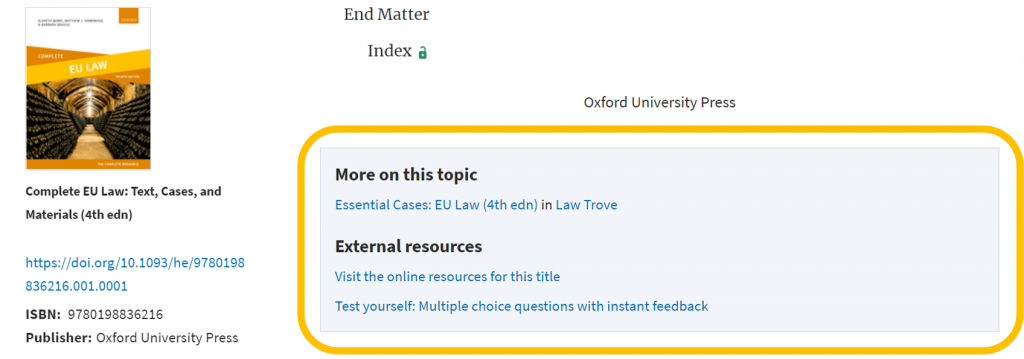 An image of an example of external/additional resources available on the OUP website.
