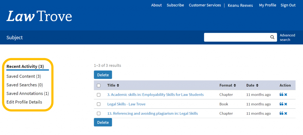 An image of the OUP Law Trove homepage with the Personal Profile option highlighted,