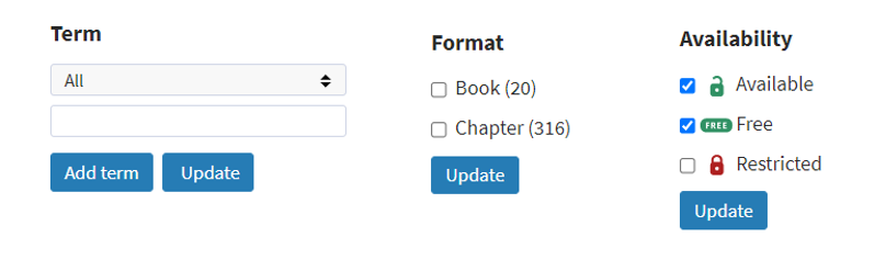 An image of the refine or narrow your choices options within OUP Law Trove, i.e. by term, book or chapter, or availability (available or free).