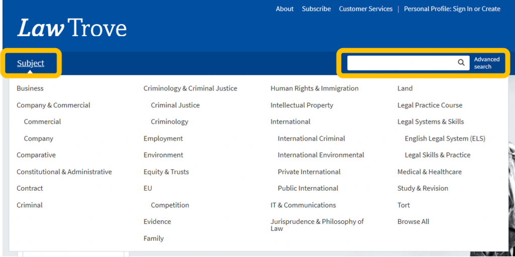 An image of the OUP Law Trove homepage with the Subject and Search options highlighted.