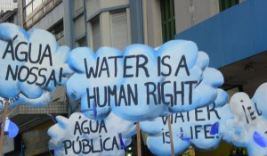 Protest against water privatisation in Brazil at the World Social Forum in 2003. Credit: WATERLAT GOBACIT