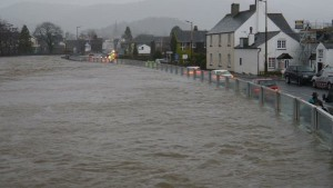 Flood defences at Keswick during Storm Desmond