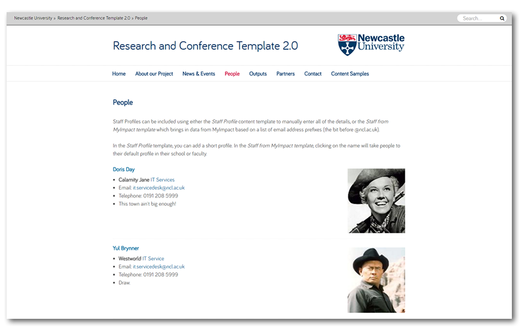 people profiles and staff lists research and conference websites