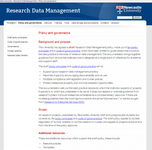 Policy and governance Research Data Management Newcastle University