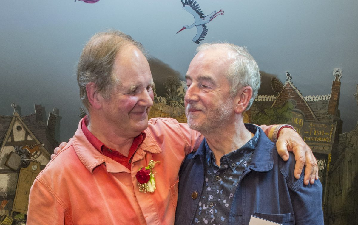 Michael Morpurgo and David Almond. Image: Seven Stories, the National Centre for Children's Books, photography by Rich Kenworthy.