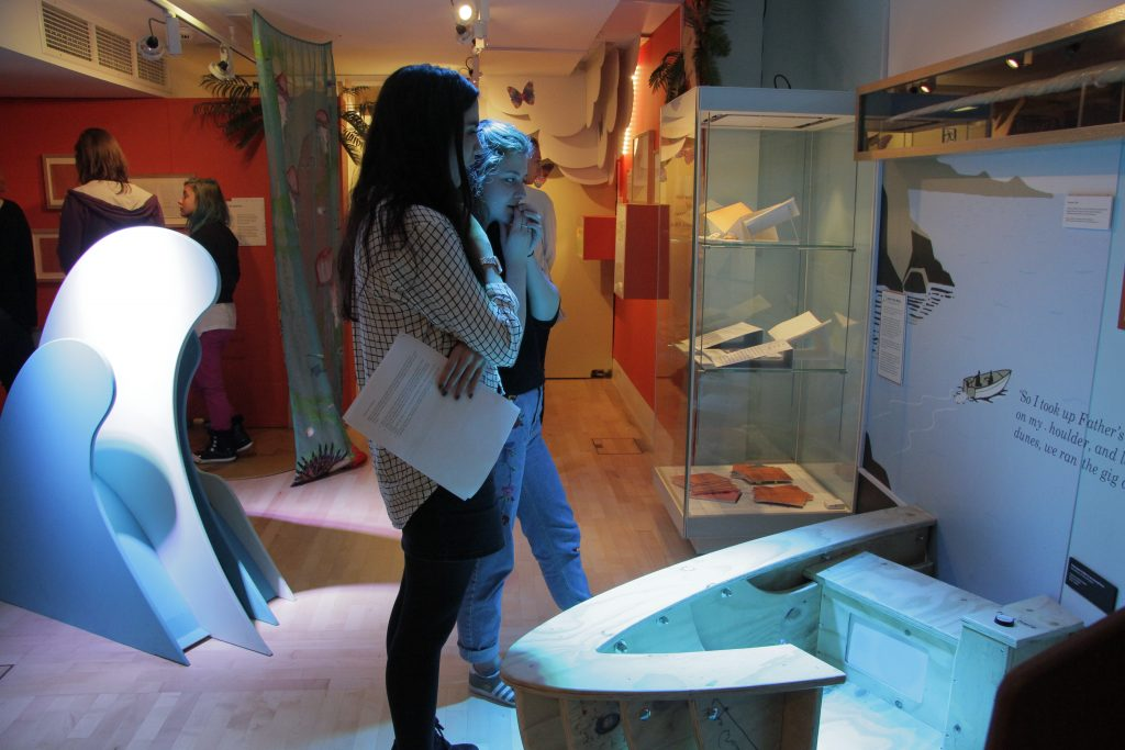 Students exploring the Michael Morpurgo exhibition. Image: Newcastle University