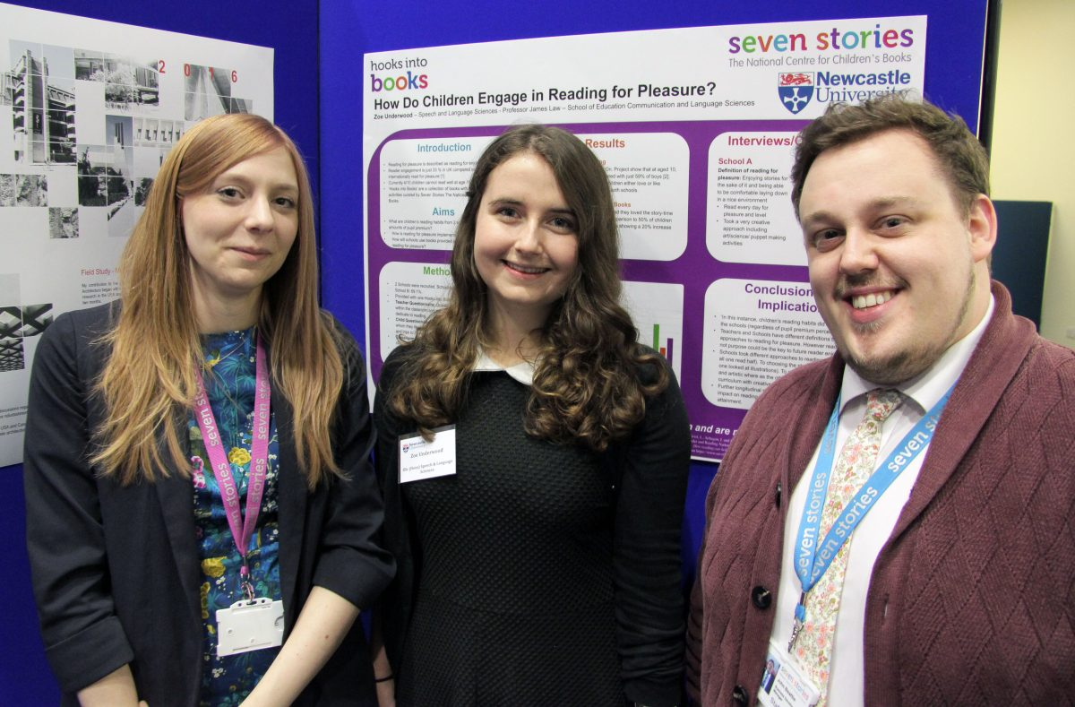 Rachel Smith, Vital North Partnership Manager and John Beattie, Business Development Manager with Zoe, Research Scholarship student. Image: Newcastle University