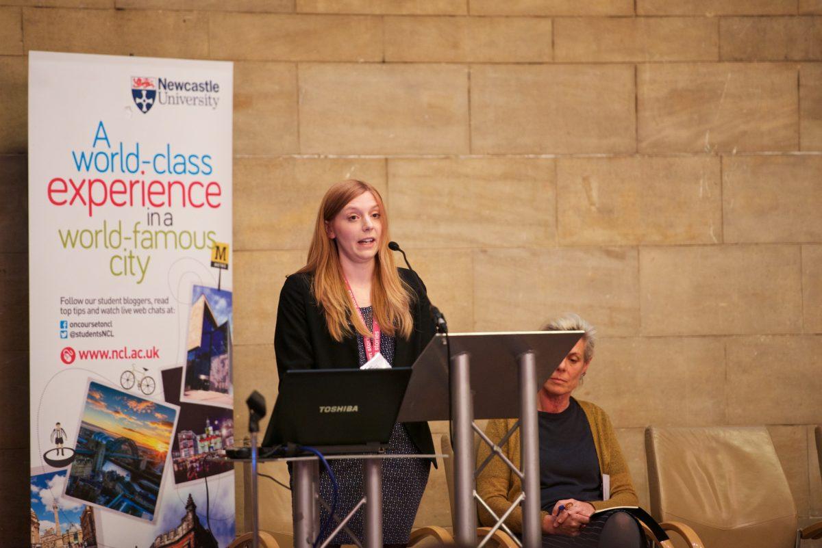 Giving my Pecha Kucha presentation. Image: Newcastle University